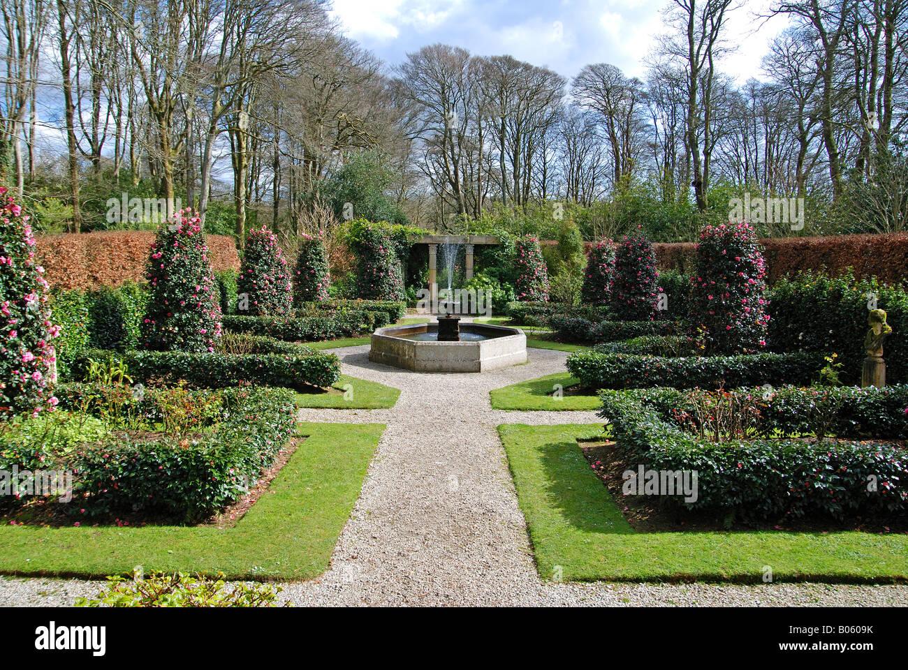 the italian sunken garden at trevarno gardens near helston,cornwall,england - Stock Image