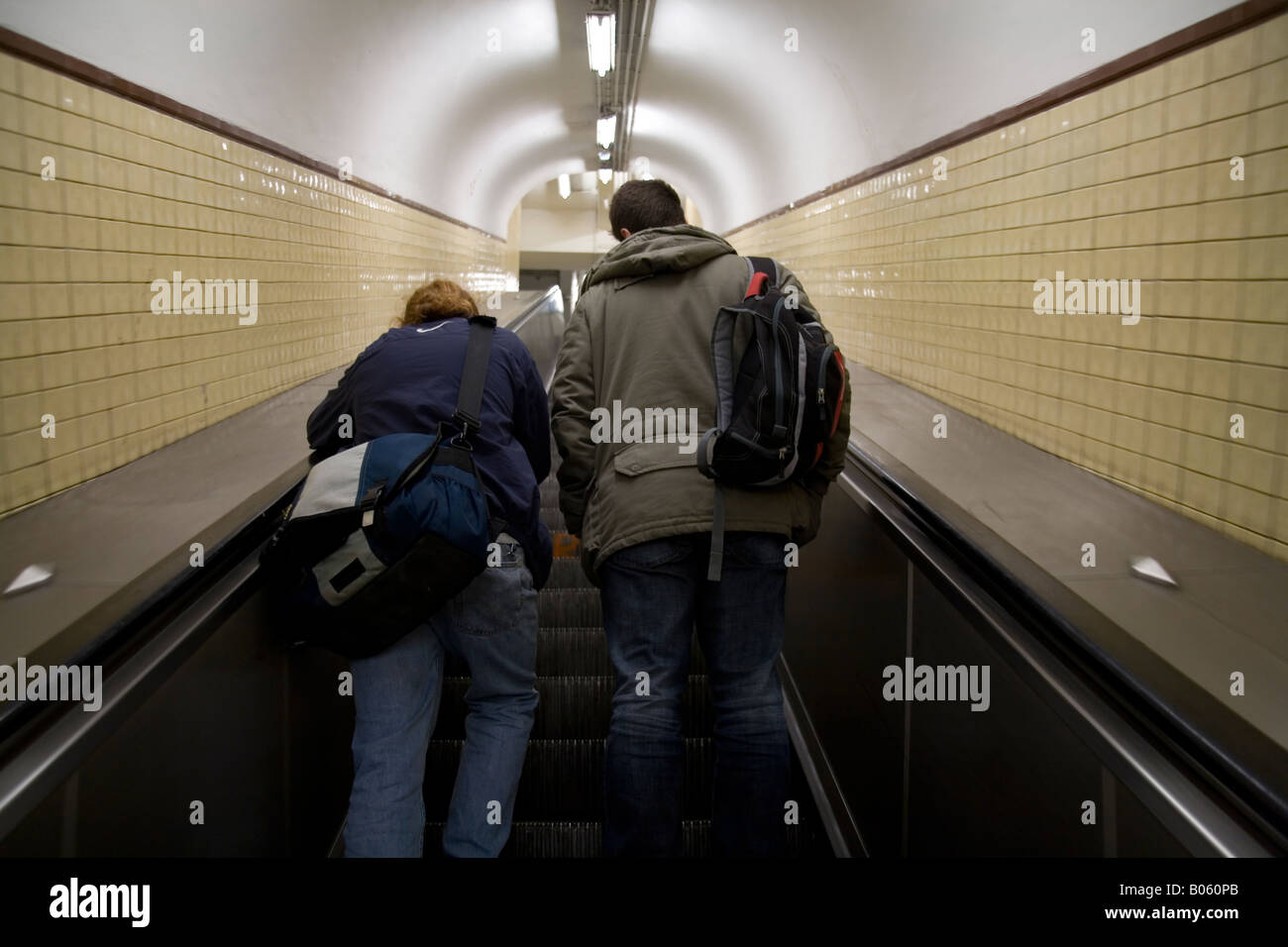 Escalator in the metro, Paris France. - Stock Image