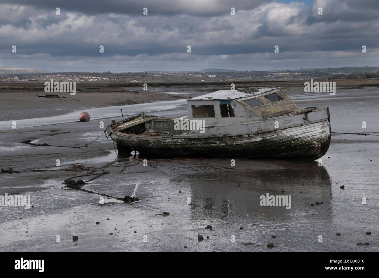 Derelict boat, Penclawdd, North Gower Stock Photo