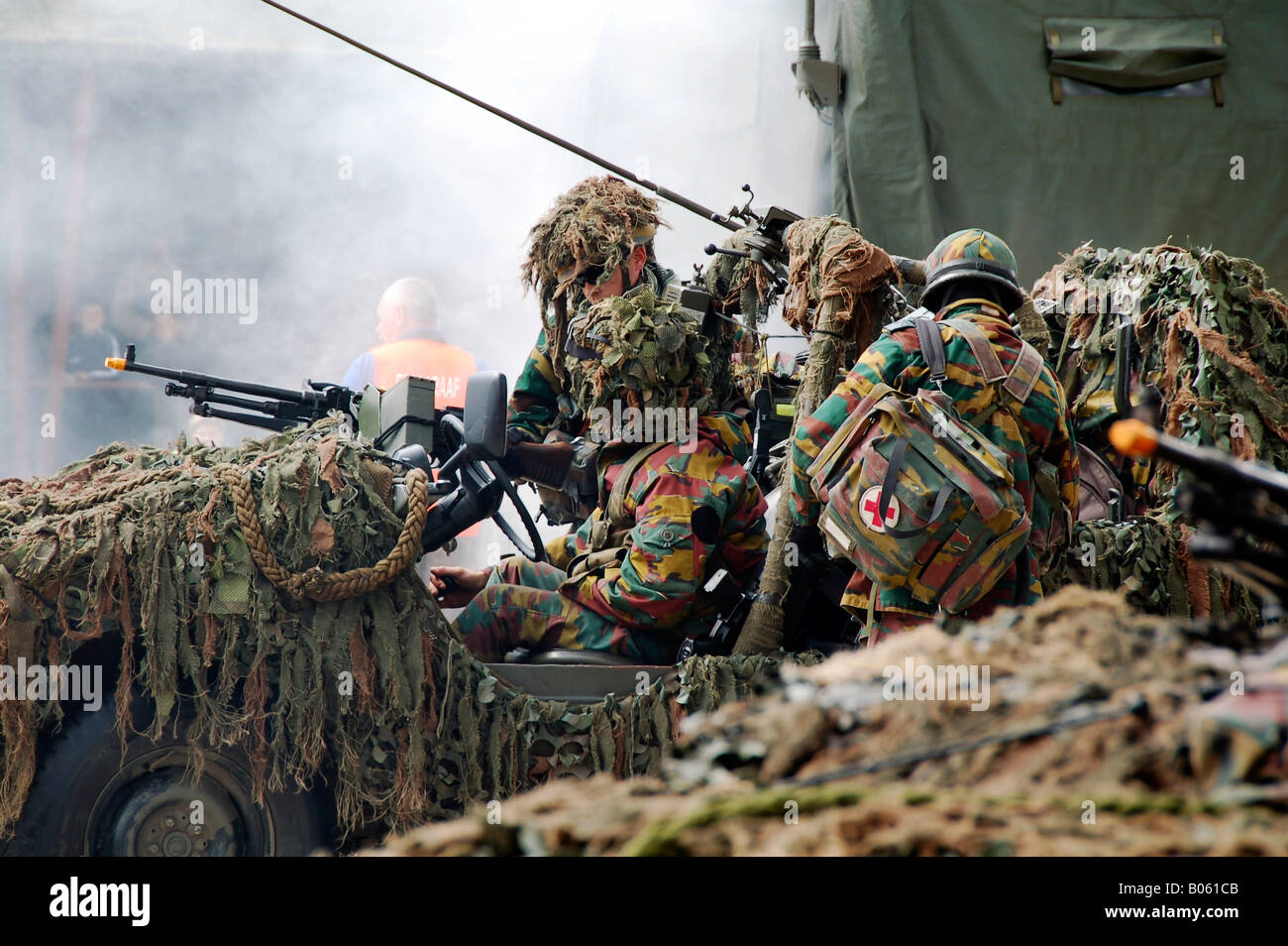 A recce or scout team of the Belgian Army in action. Stock Photo