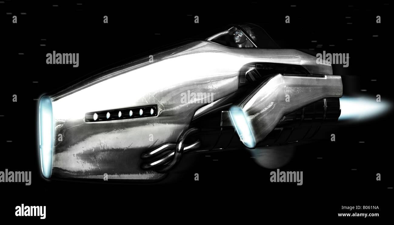 sci fi ship in space - Stock Image