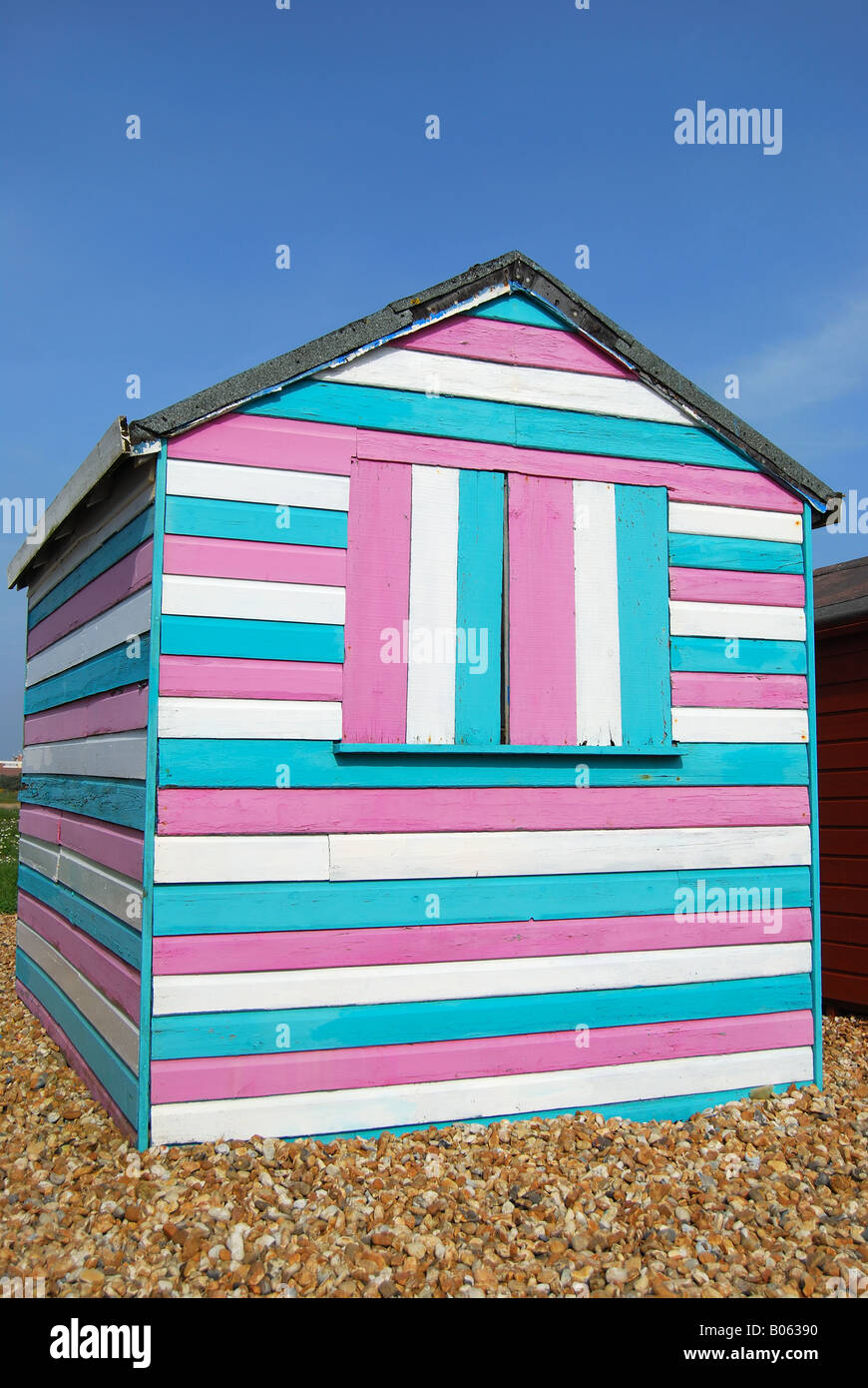 Colourful beach hut, Hayling Island, Hampshire, England, United Kingdom - Stock Image