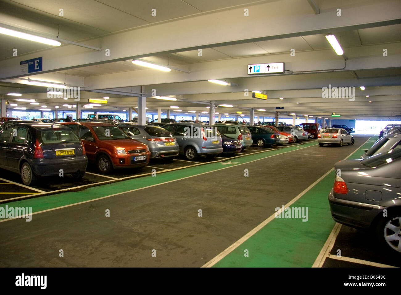 View of cars parked in multistorey car park in Southampton regional airport - Stock Image