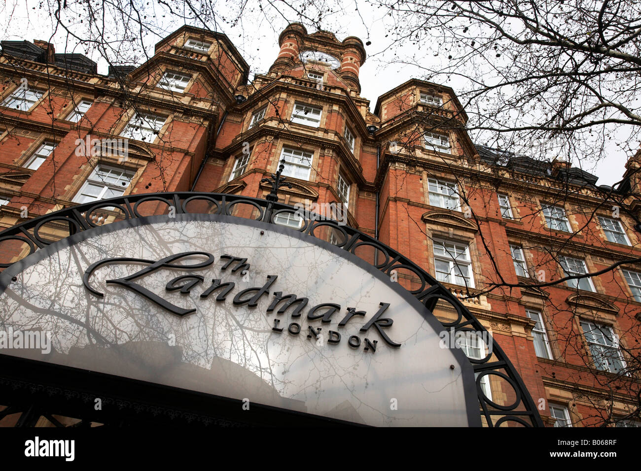 Detail of the entrance to The Landmark Hotel, London, UK - Stock Image