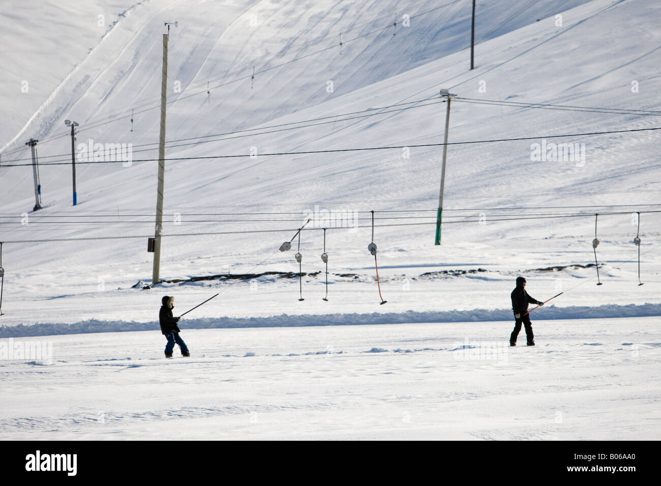 white snow in the skiing area of blafjoll iceland stock photo