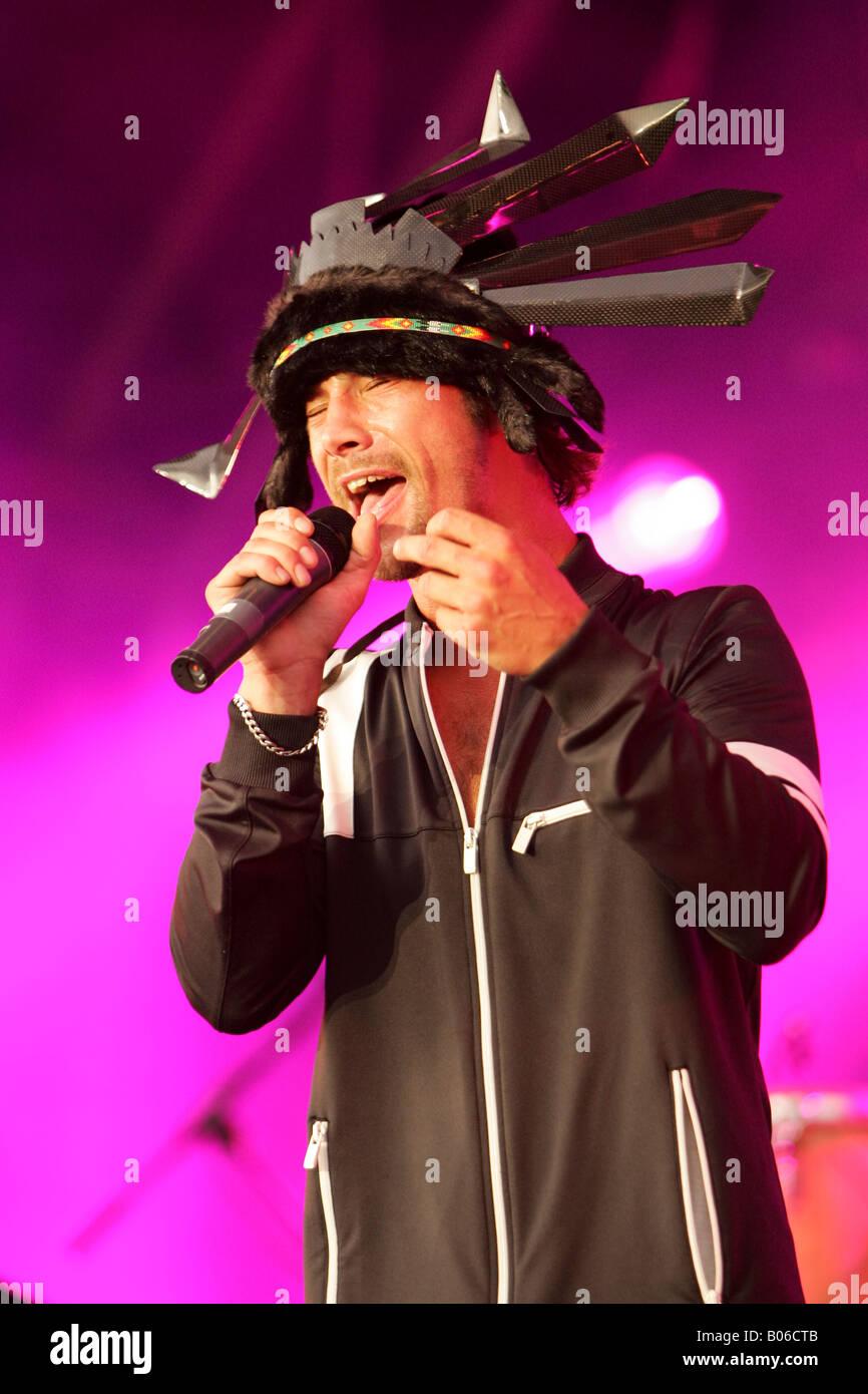 Jay Kay of Jamiroquai performs live on stage - Stock Image