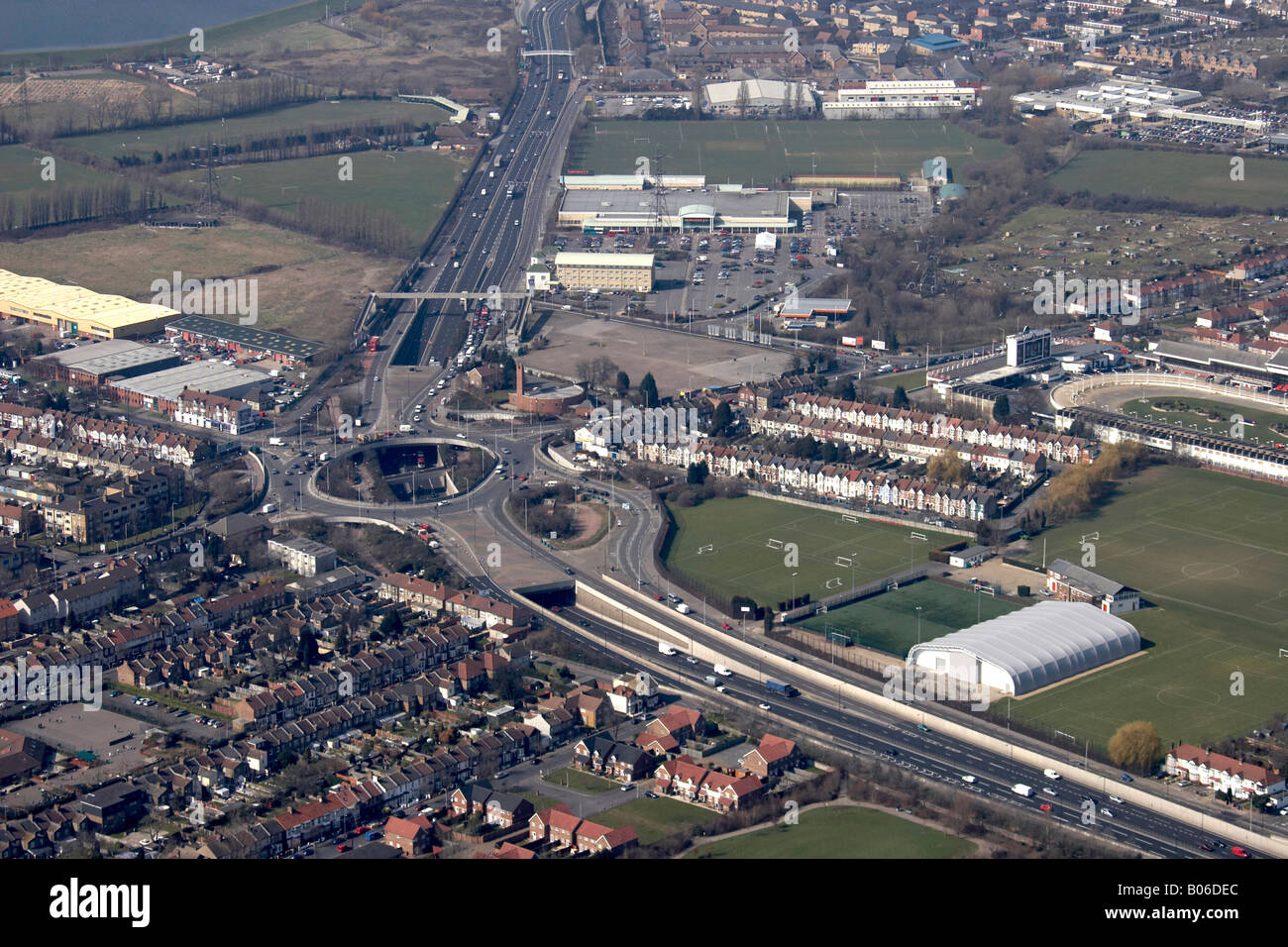 Aerial view north west of Crooked Billet roundabout A406 Waltham Forest London E17 E4 England UK High level oblique - Stock Image