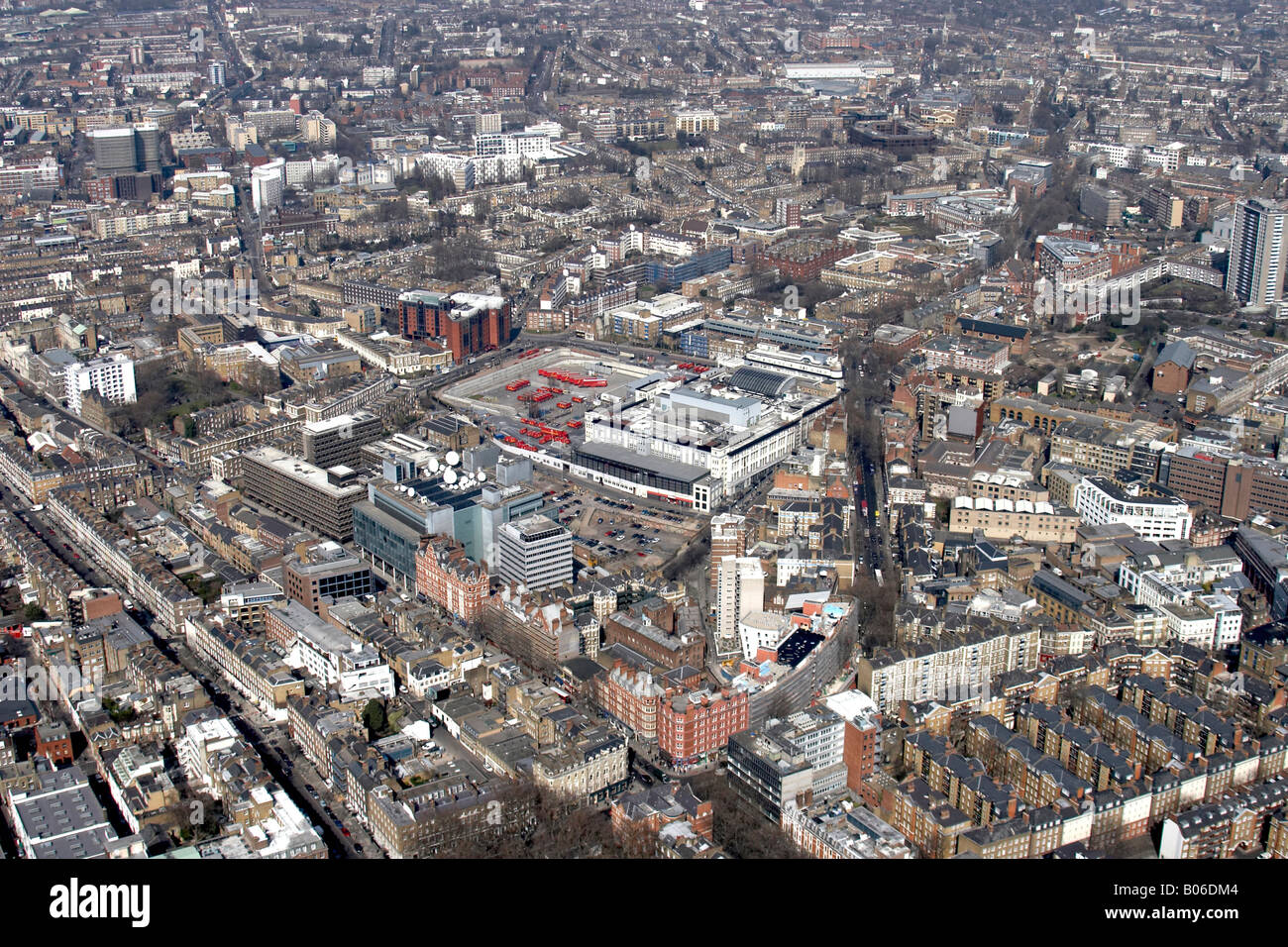 Aerial view north of British Postal Museum and Archive Phoenix Place Islington London EC1 England UK High level Stock Photo