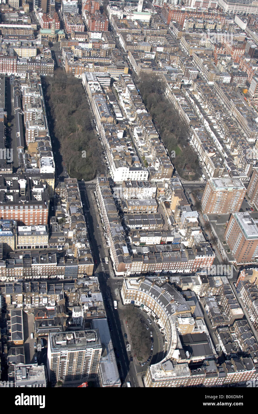 Aerial view north of St Mary s Church Montague Square Bryanston Square City of Westminster London W1 England UK - Stock Image