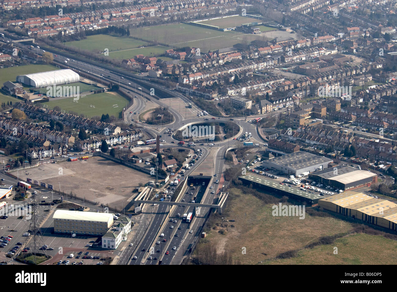 Aerial view south east of Crooked Billet North Circular Road A406 Waltham Forest London E4 E17 England UK High level - Stock Image