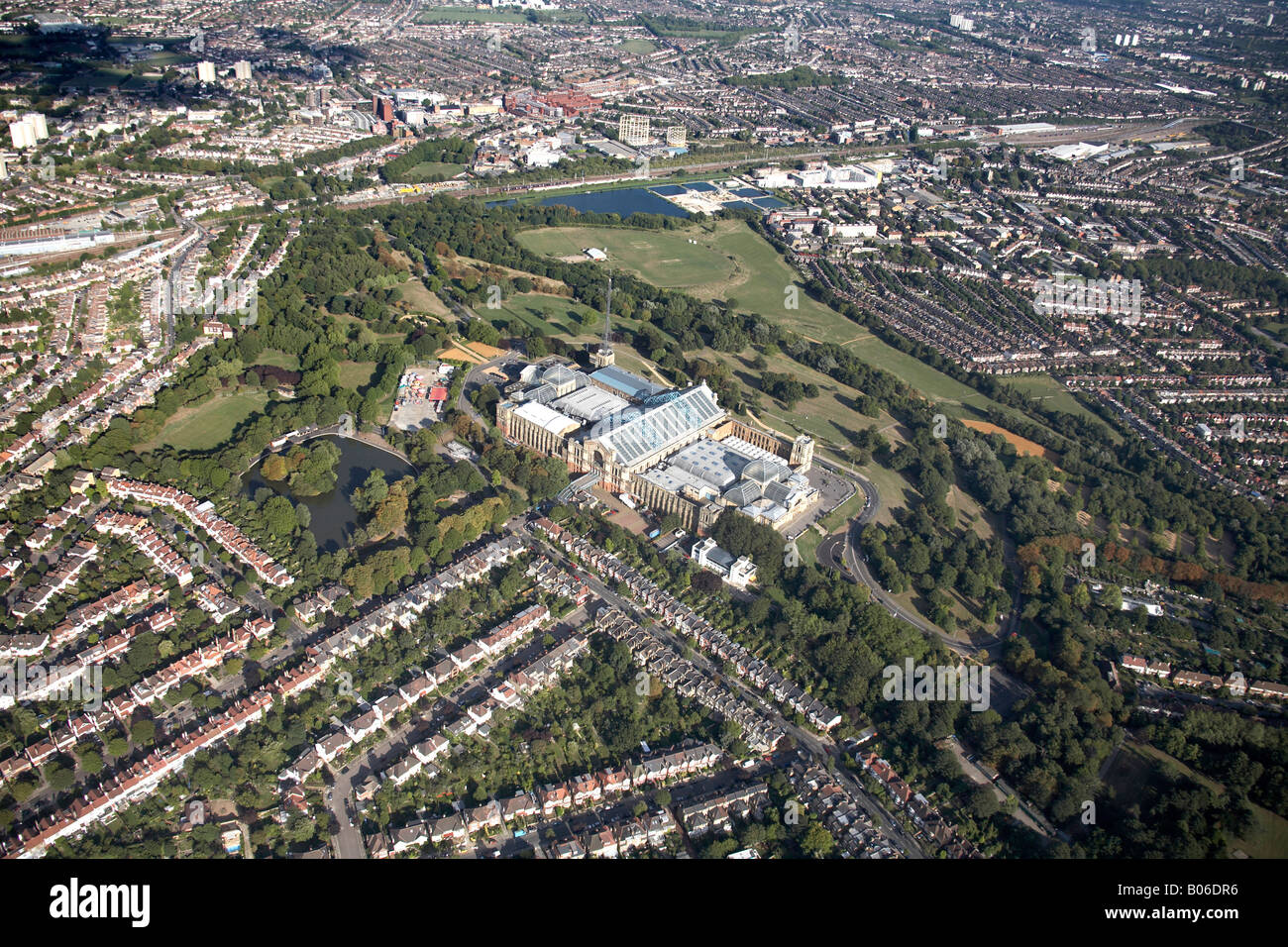 Aerial view east of Alexandra Palace Park Lake reservoir suburban housing Wood Green and Hornsey London N22 N8 England - Stock Image