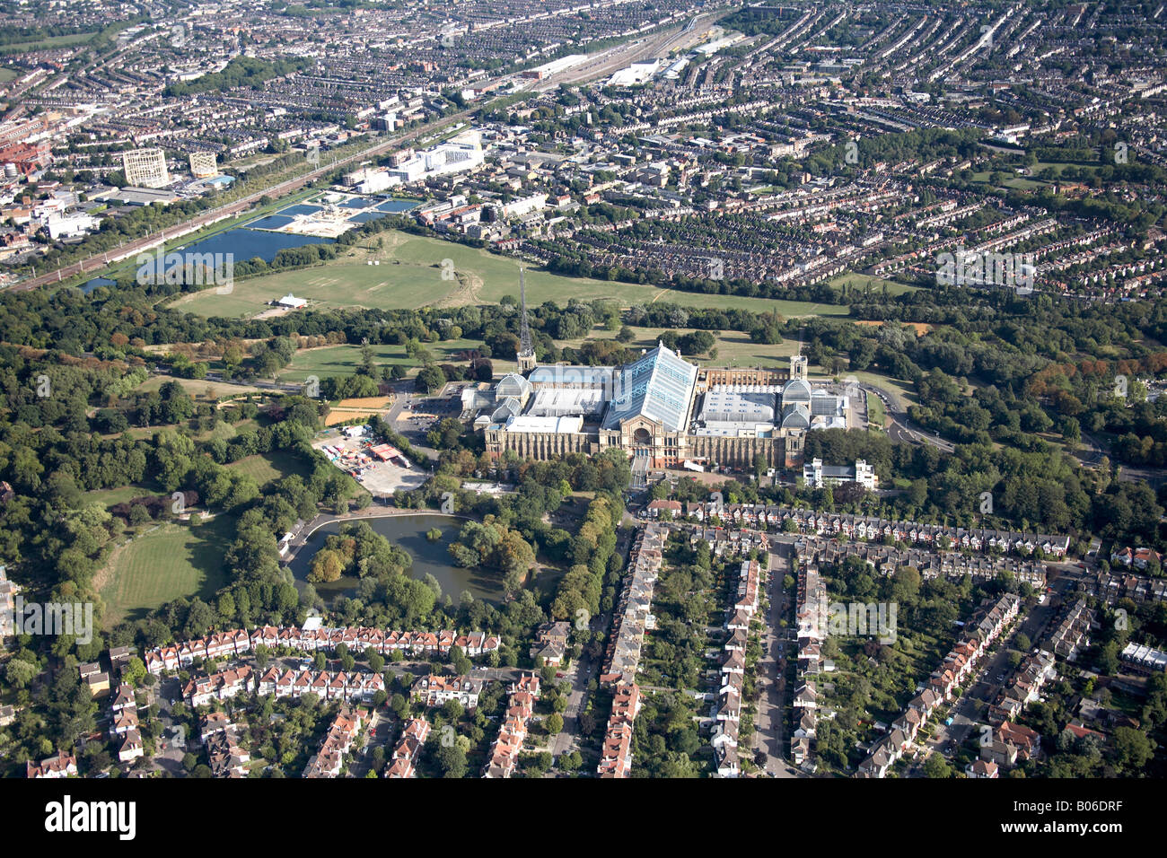 Aerial view south east of Alexandra Palace Park Lake reservoir suburban housing Wood Green and Hornsey London N22 - Stock Image