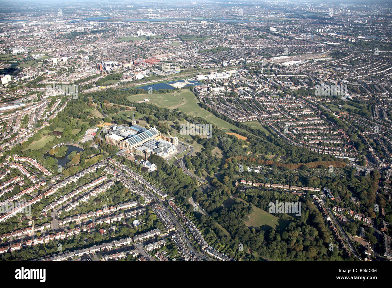 Aerial view east of Alexandra Palace Park Lake reservoir suburban housing Wood Green Muswell Hill and Hornsey London - Stock Image