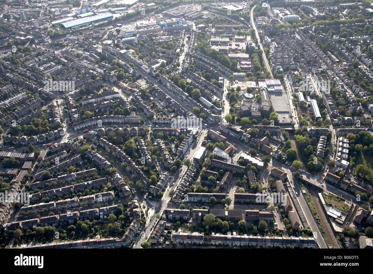 Aerial view south west of Kentish Town Industrial Estate railway lines A400 road and suburban housing London NW5 - Stock Image