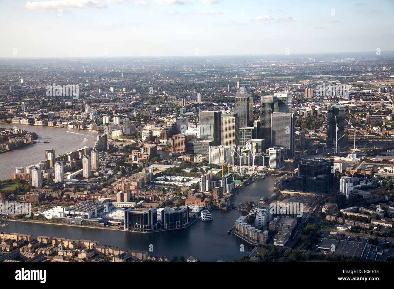 Aerial view north of Canary Wharf and Millwall Outer Dock London E14 England UK - Stock Image