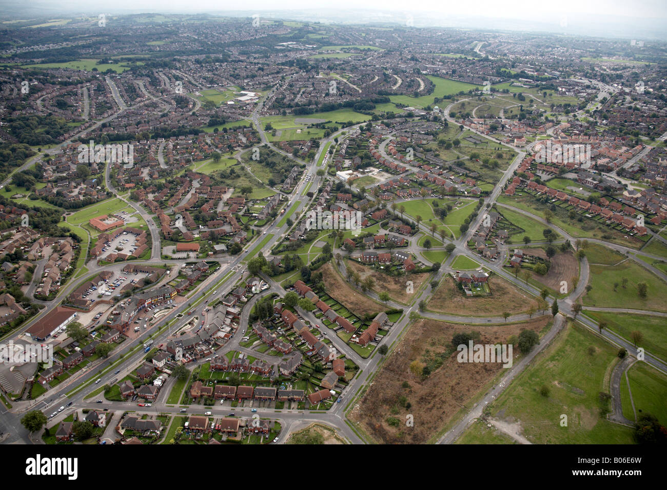 Aerial view south east of suburban housing The Circle Close Harborough Avenue Prince of Wales Road A6102 Sheffield - Stock Image