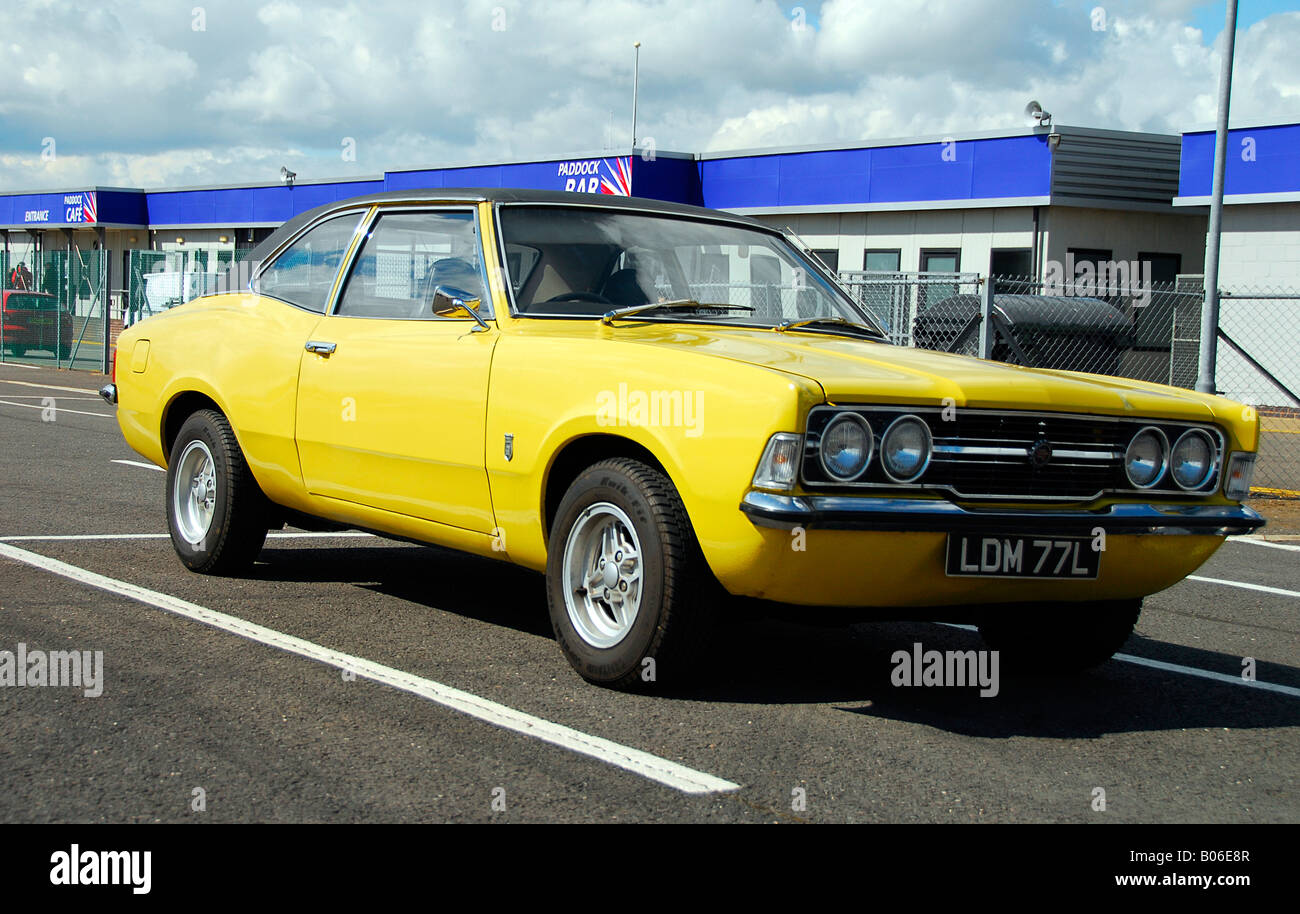 Bright Yellow Ford Cortina Mk Cc Gt Parked In The Paddock At Silverstone Stock Image