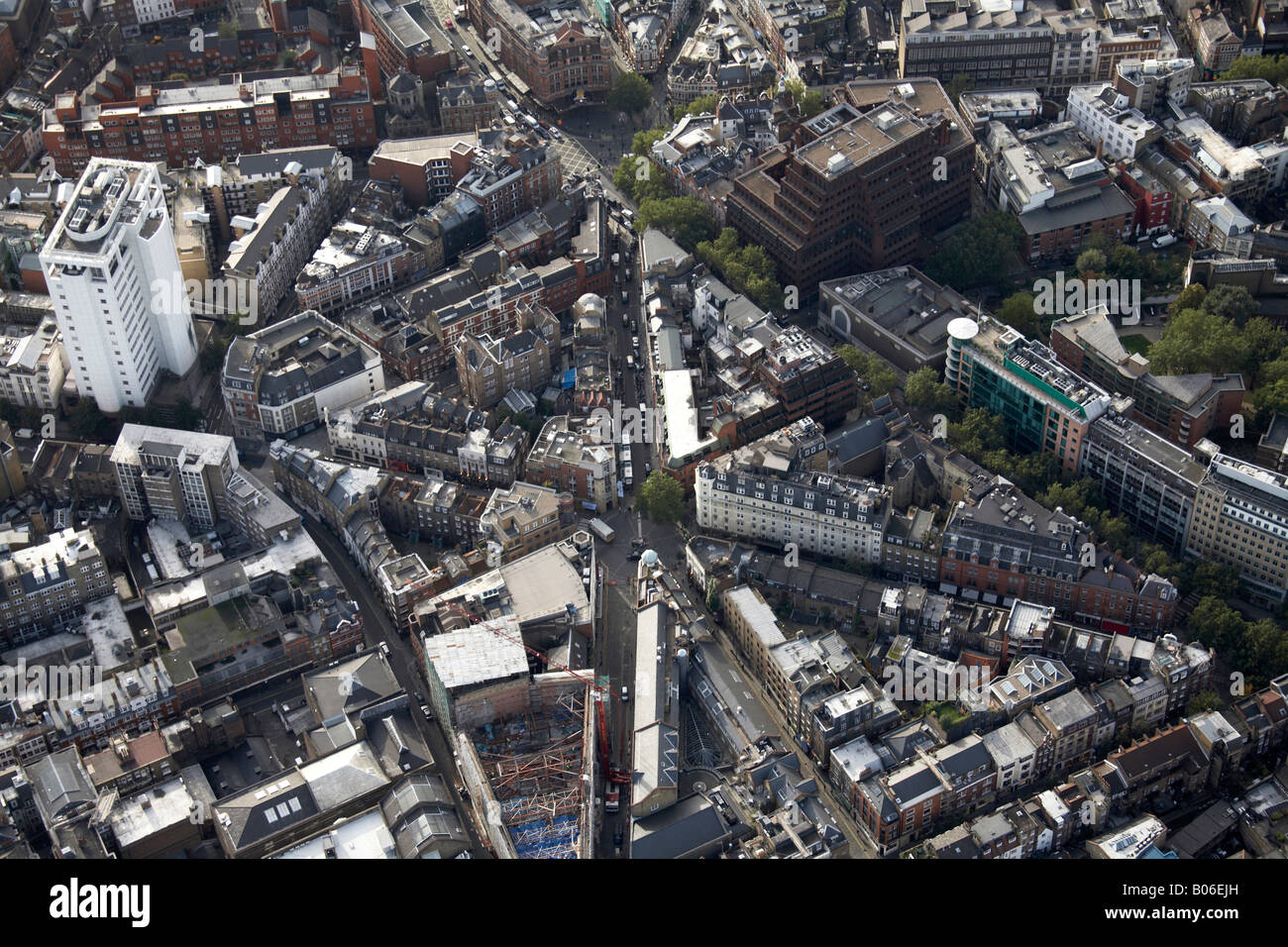Aerial view south west of Seven Dials Earlham St Shaftesbury Ave Charing Cross Rd Cambridge Circus Covent Garden - Stock Image