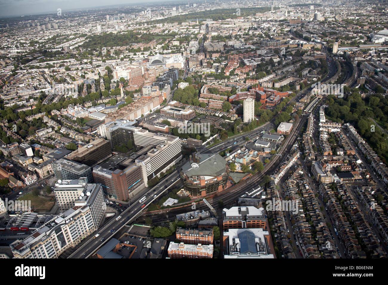 Aerial view north east of Hotel Novotel West London Ark Talgarth Road Hammersmith Flyover suburban buildings Kensington Stock Photo
