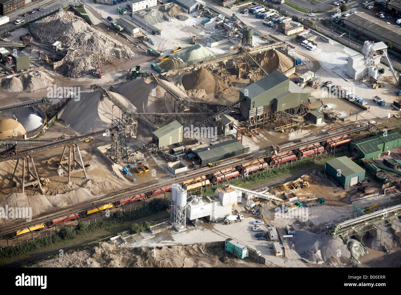 Aerial view south east of Brocklebank Road Industrial Estate sand piles Bugsby s Way London SE7 England UK - Stock Image