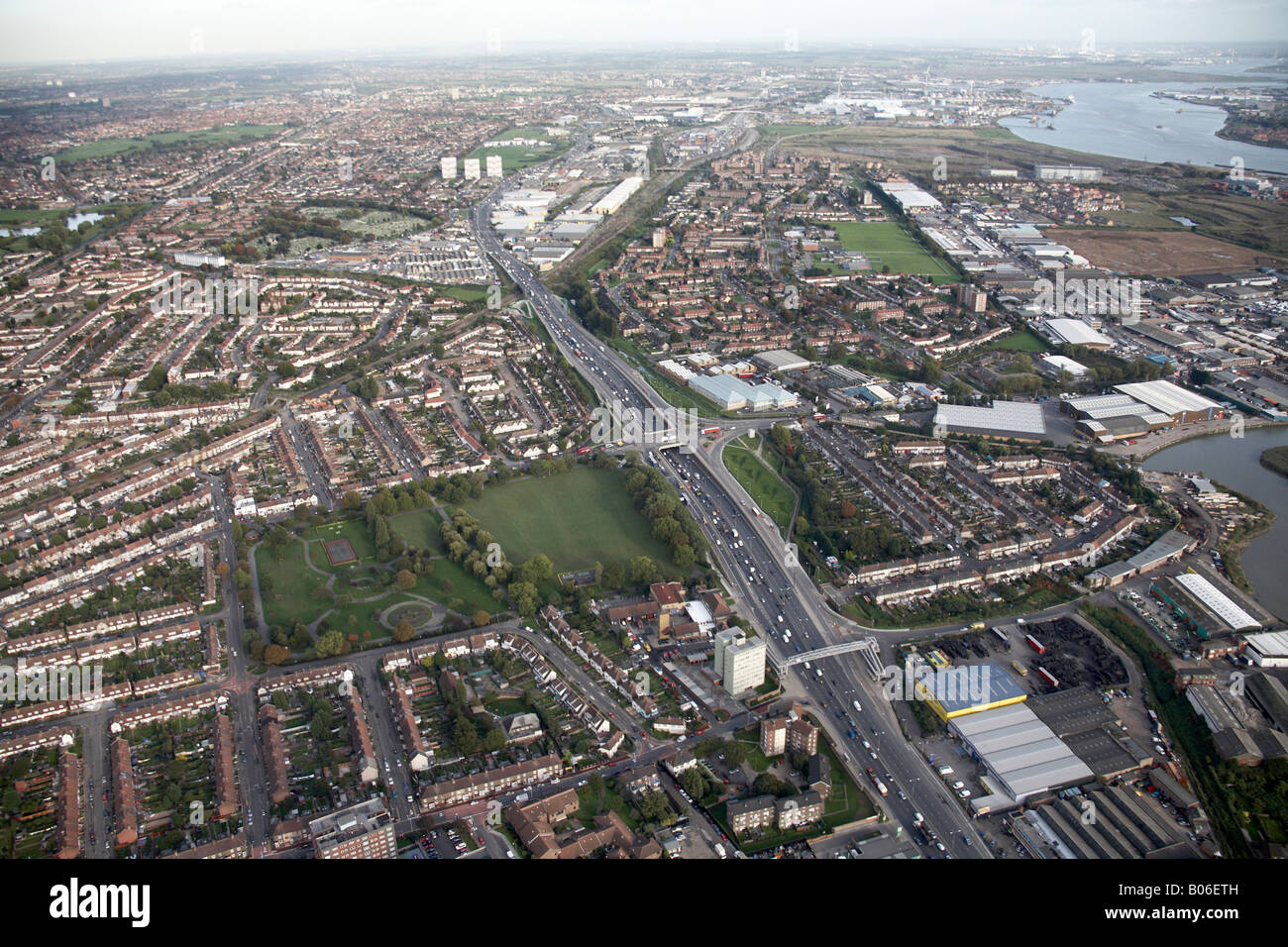 Aerial view south east of Alfred s Way East Ham Barking By Pass Greatfields Park suburban houses Creekmouth River - Stock Image