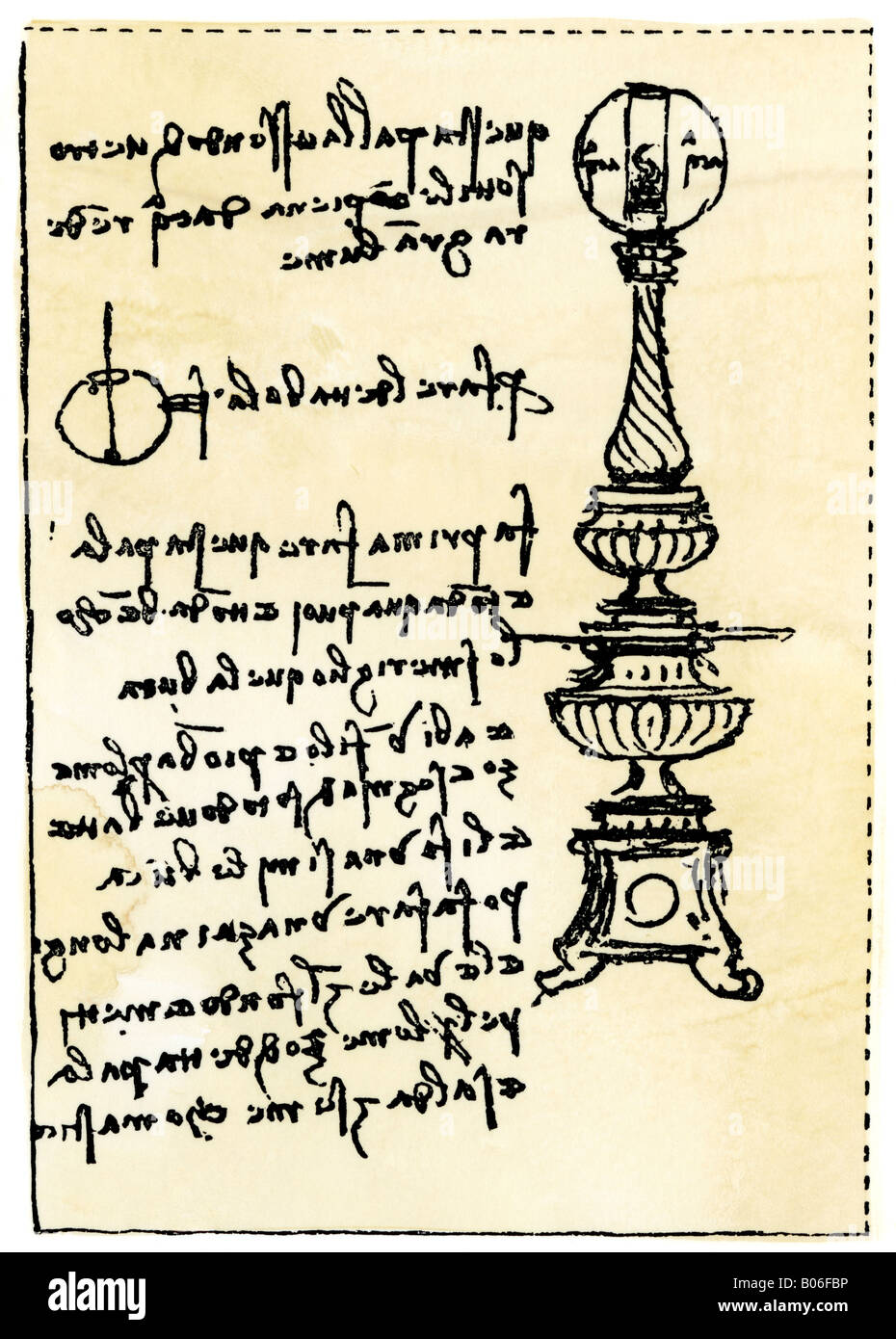 Leonardo da Vinci backward handwriting on his design for a lamp using a globe filled with water. Woodcut with a - Stock Image