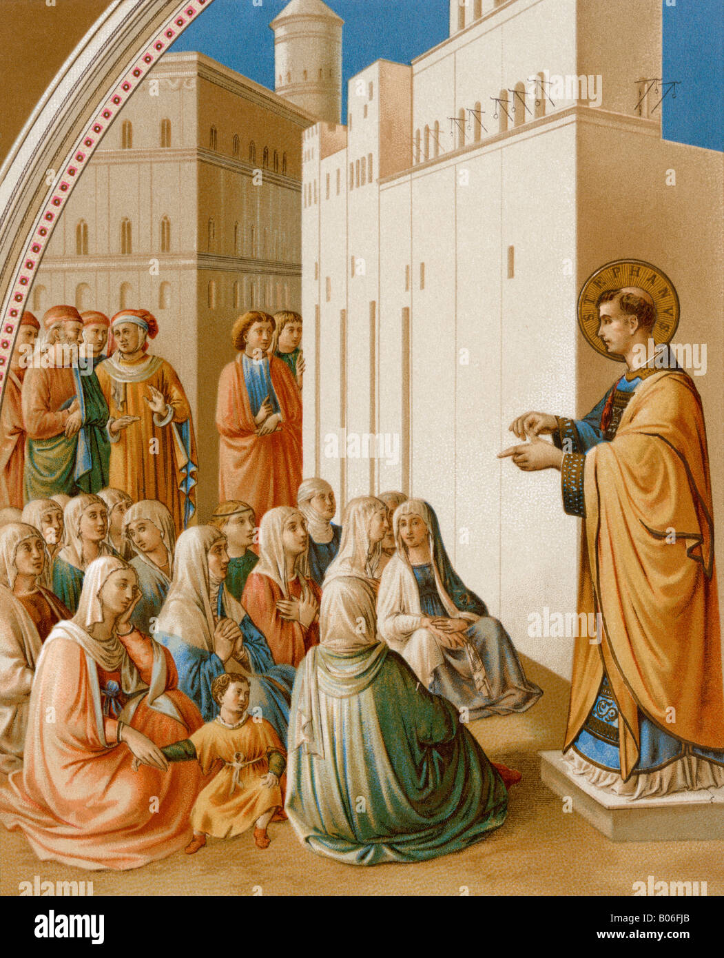 Saint Stephen preaching in Jerusalem. Color lithograph - Stock Image