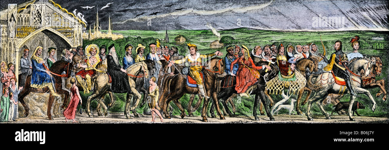 Pilgrims embarking on their journey in Chaucer classic Canterbury Tales. Hand-colored halftone of an illustration - Stock Image