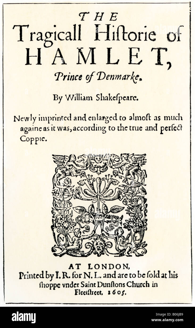 Title page of the 1605 publication of Hamlet by William Shakespeare. Woodcut with a watercolor wash - Stock Image