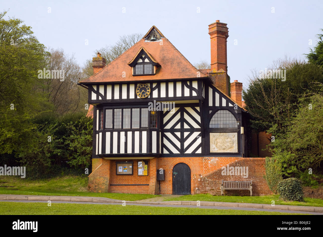 Tilford Surrey England UK Tilford Institute village hall and cricket pavilion building by Edwin Lutyens 1893 - Stock Image