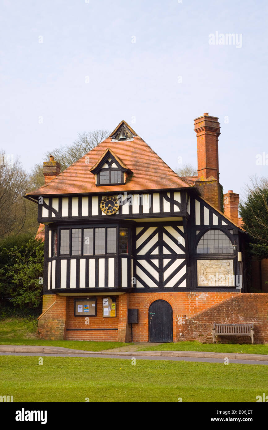 Tilford Institute village hall and cricket pavilion building by Edwin Lutyens 1893 in Tilford Surrey England UK - Stock Image
