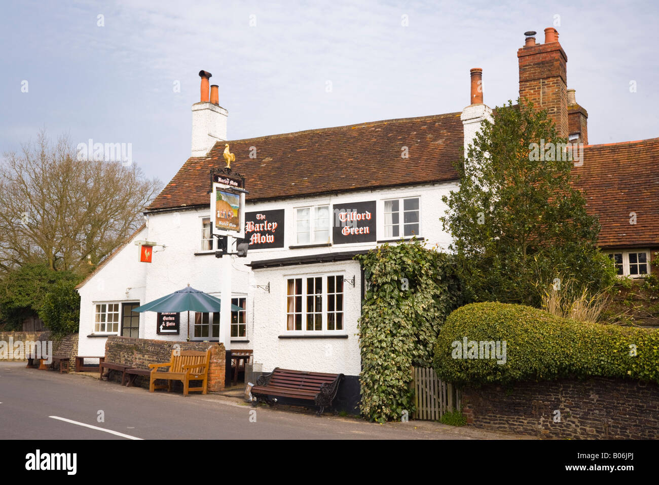 The 'Barley Mow' traditional rural village pub in Tilford Surrey England UK Britain - Stock Image