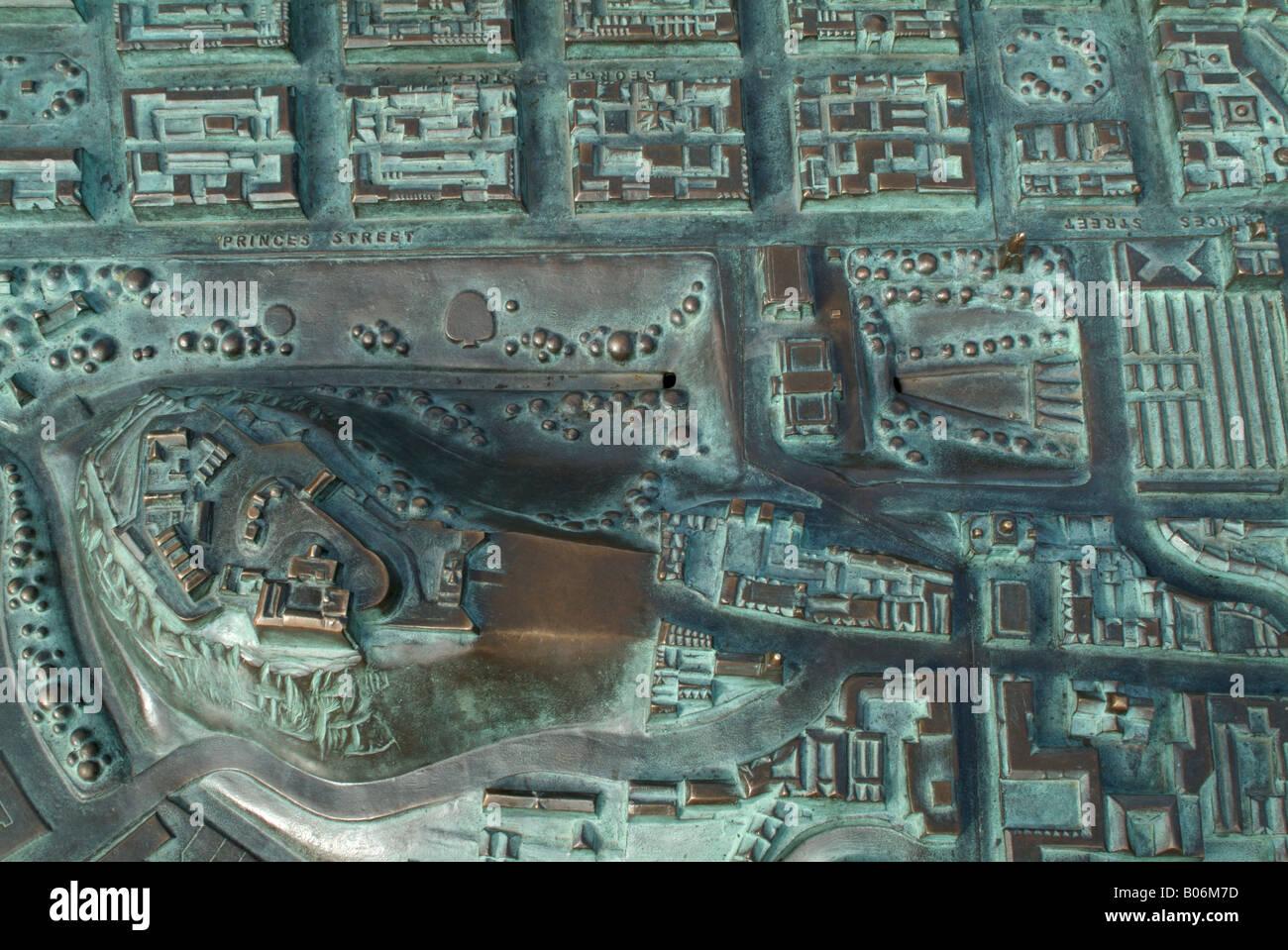 Three dimensional map of Edinburgh city centre - Stock Image