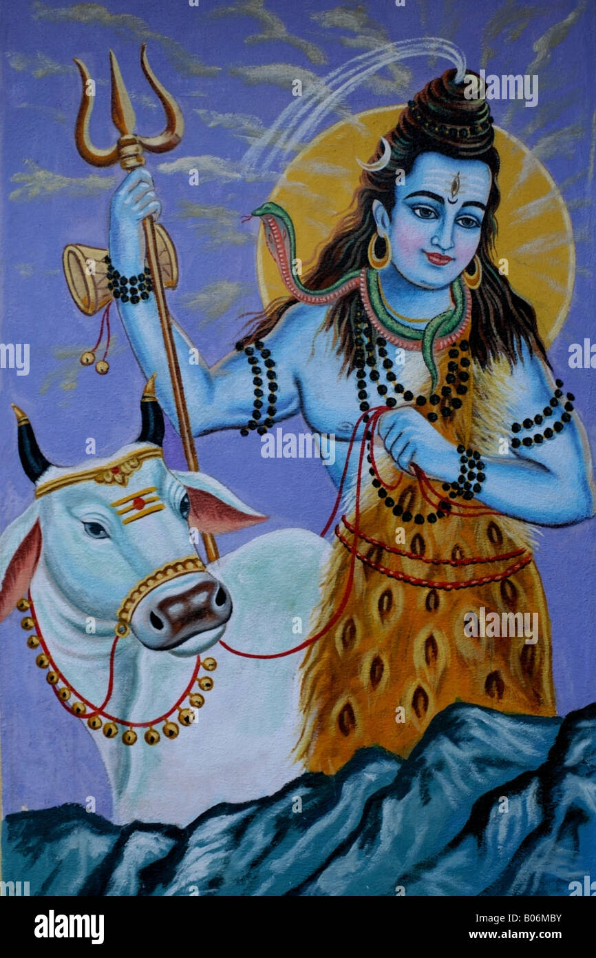 Mural on Hindu temple wall of Lord Shiva and his cow Nandi, India - Stock Image
