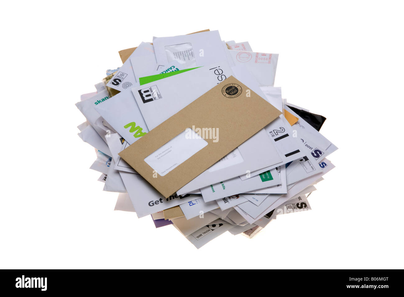 post tray full of junk mail junkmail Stock Photo