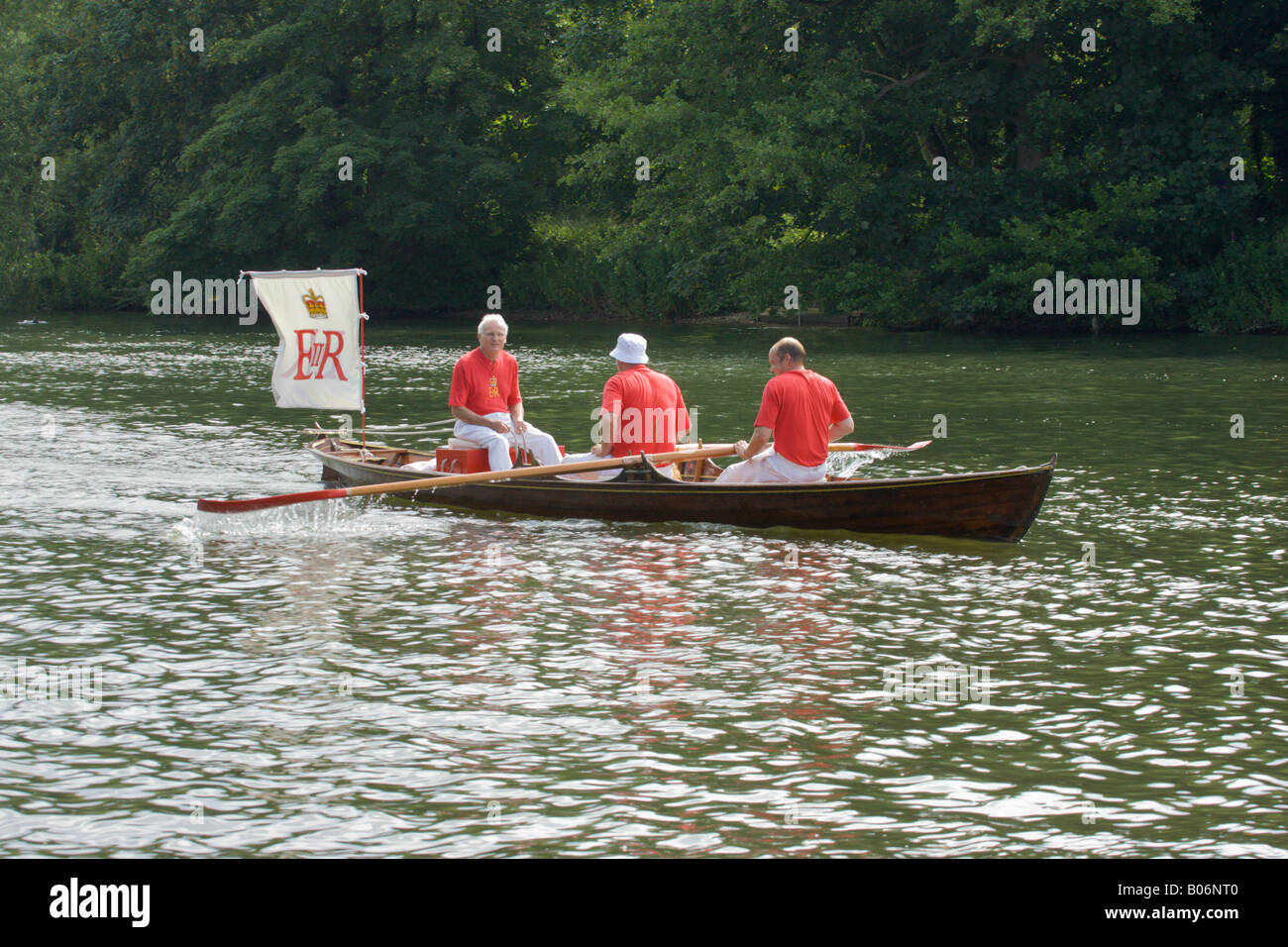 Swan upping on the River Thames One of Her Majesty Queen Elizabeth's skiffs - Stock Image