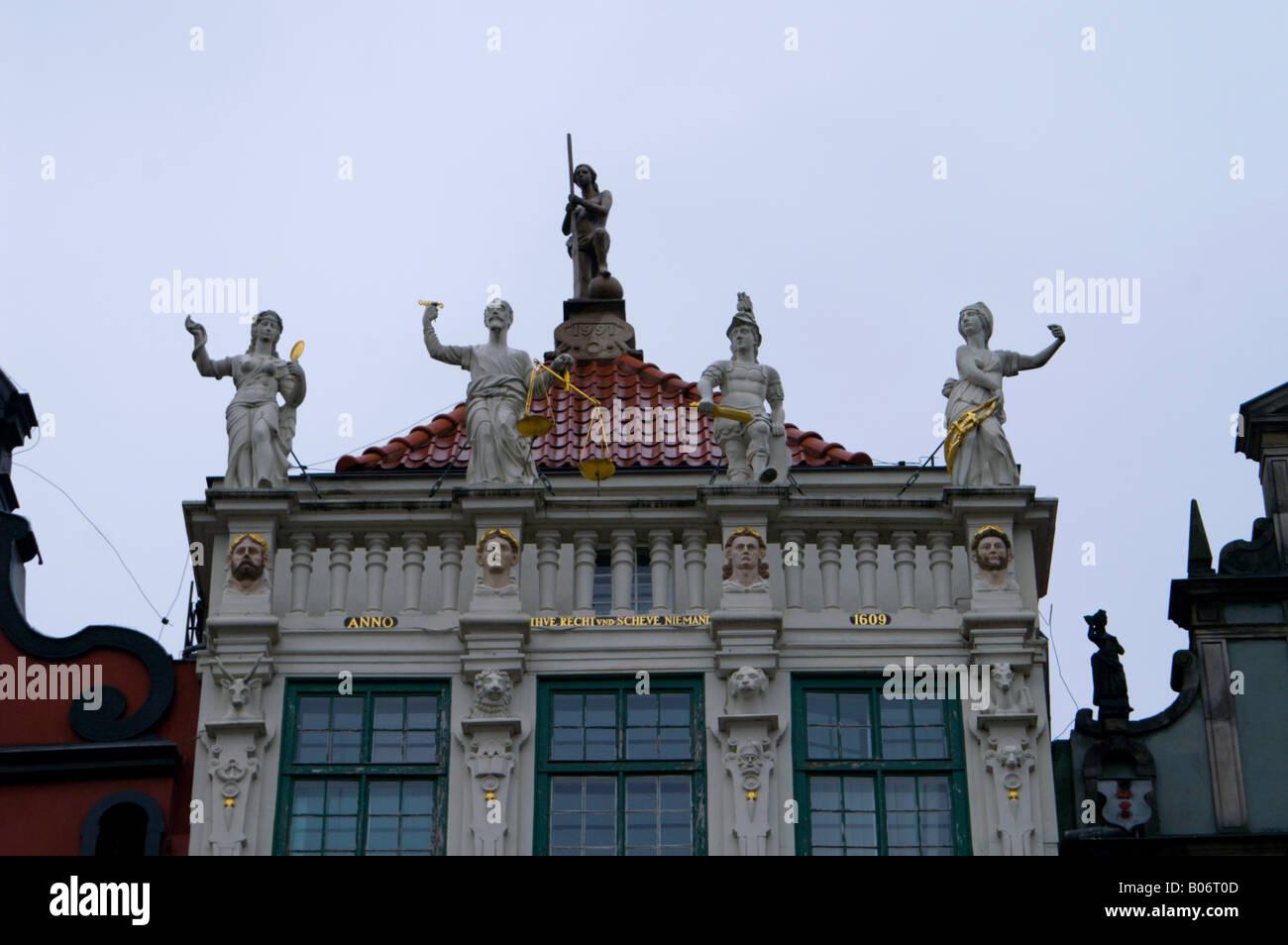 Roofline of the Golden House, Gdansk (Danzig), Poland. - Stock Image