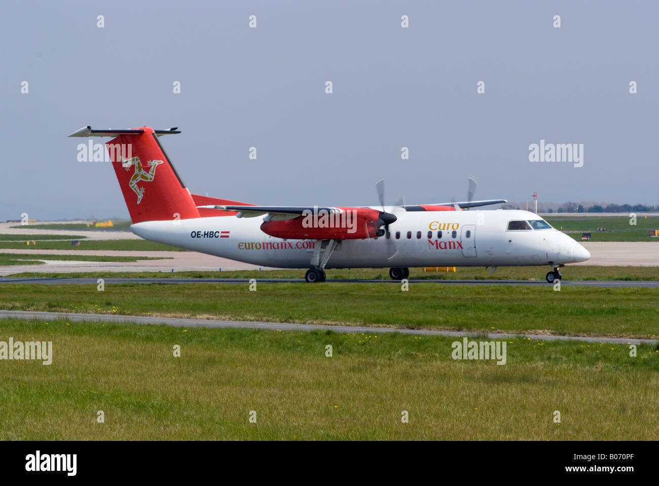 Euromanx DeHavilland Dash8 [Canada DHC-8-311Q] Taxiing for Take-off at Manchester Ringway Airport England United Stock Photo