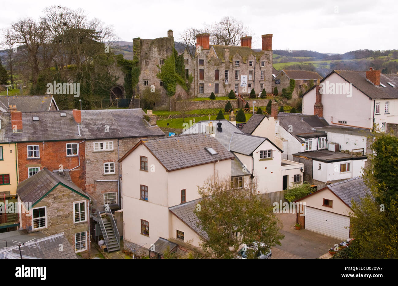 Unique view over rooftops looking toward castle of Hay on Wye Powys Wales UK on the border with England - Stock Image