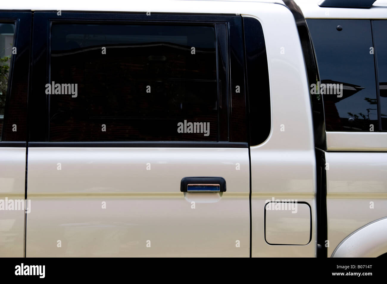 Blacked out windows on a high specification crew cab truck Stock Photo