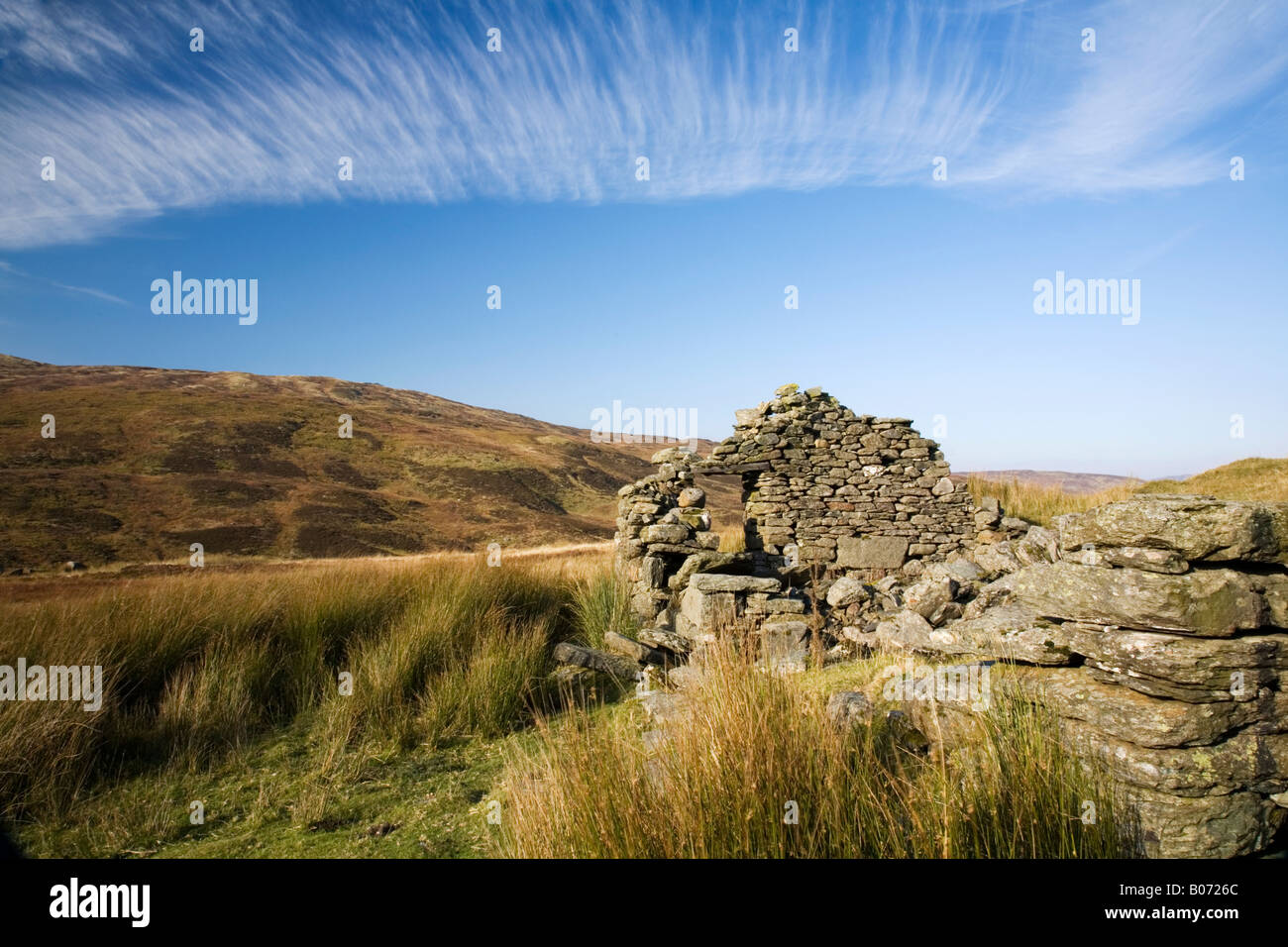Derelict shieling on the road across Ben Lawers to Glen Lyon Stock Photo