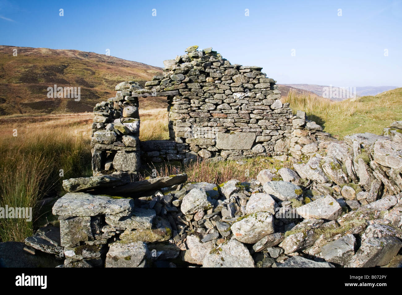 Mountain views from a derelict shieling on Ben Lawers in the Scottish Highlands Stock Photo