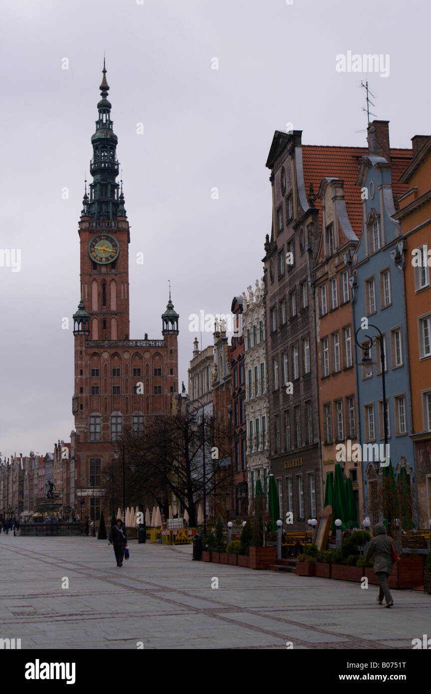 Dlugi Targ in the Old Town of Gdansk (Danzig), Poland, looking towards the Town Hall of the Main City (Historical Stock Photo