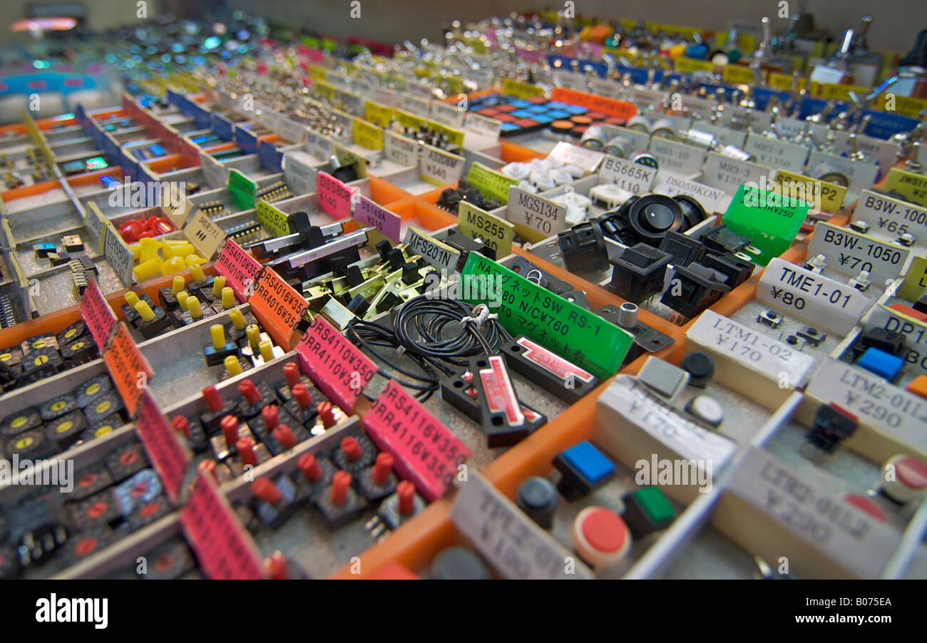 Stall of electronics components in the market at Akihabara, ELECTRIC TOWN, Tokyo, Japan - Stock Image