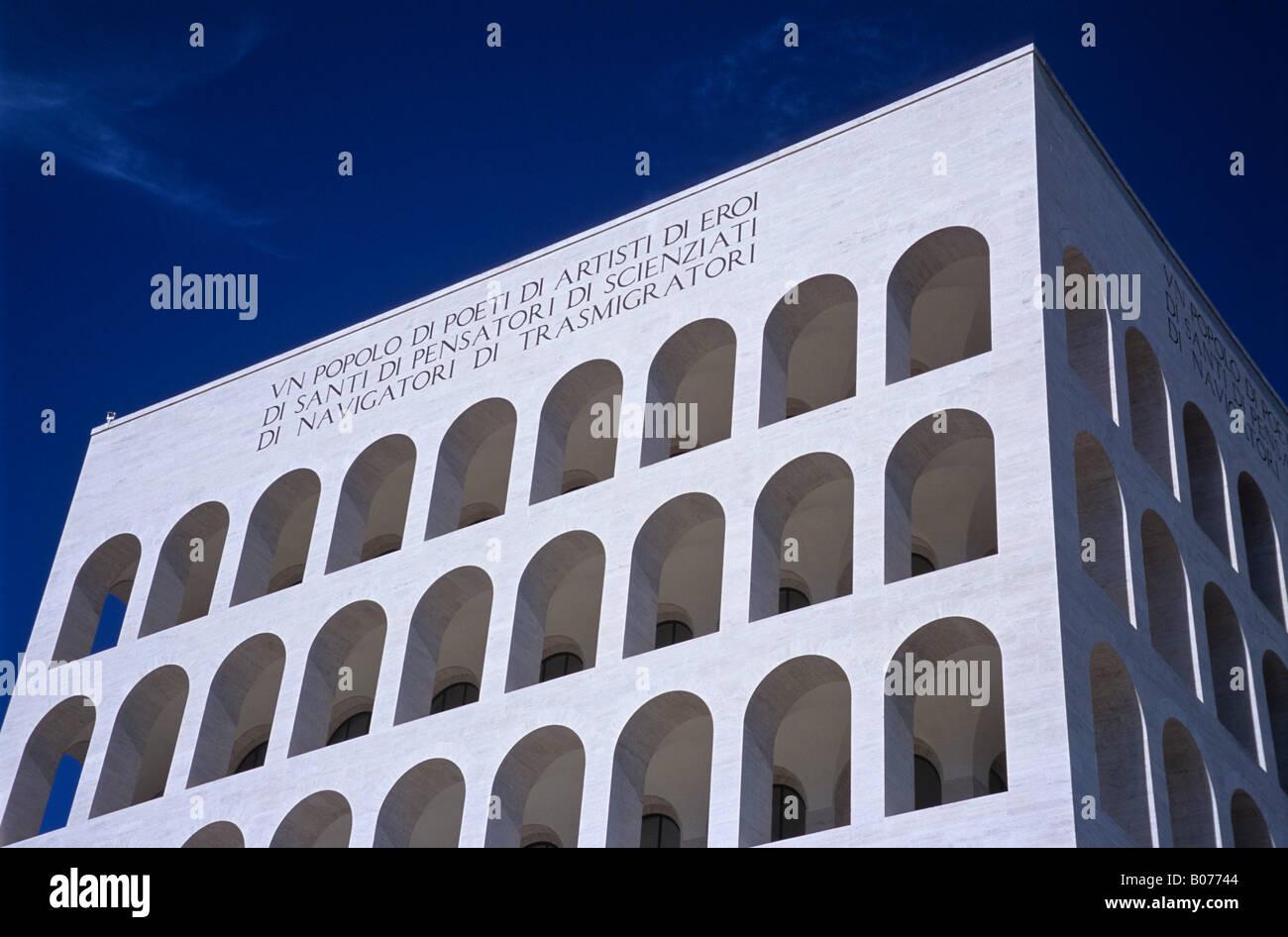 Palazzo della Civiltà del Lavoro, EUR, Rome, Italy - Stock Image