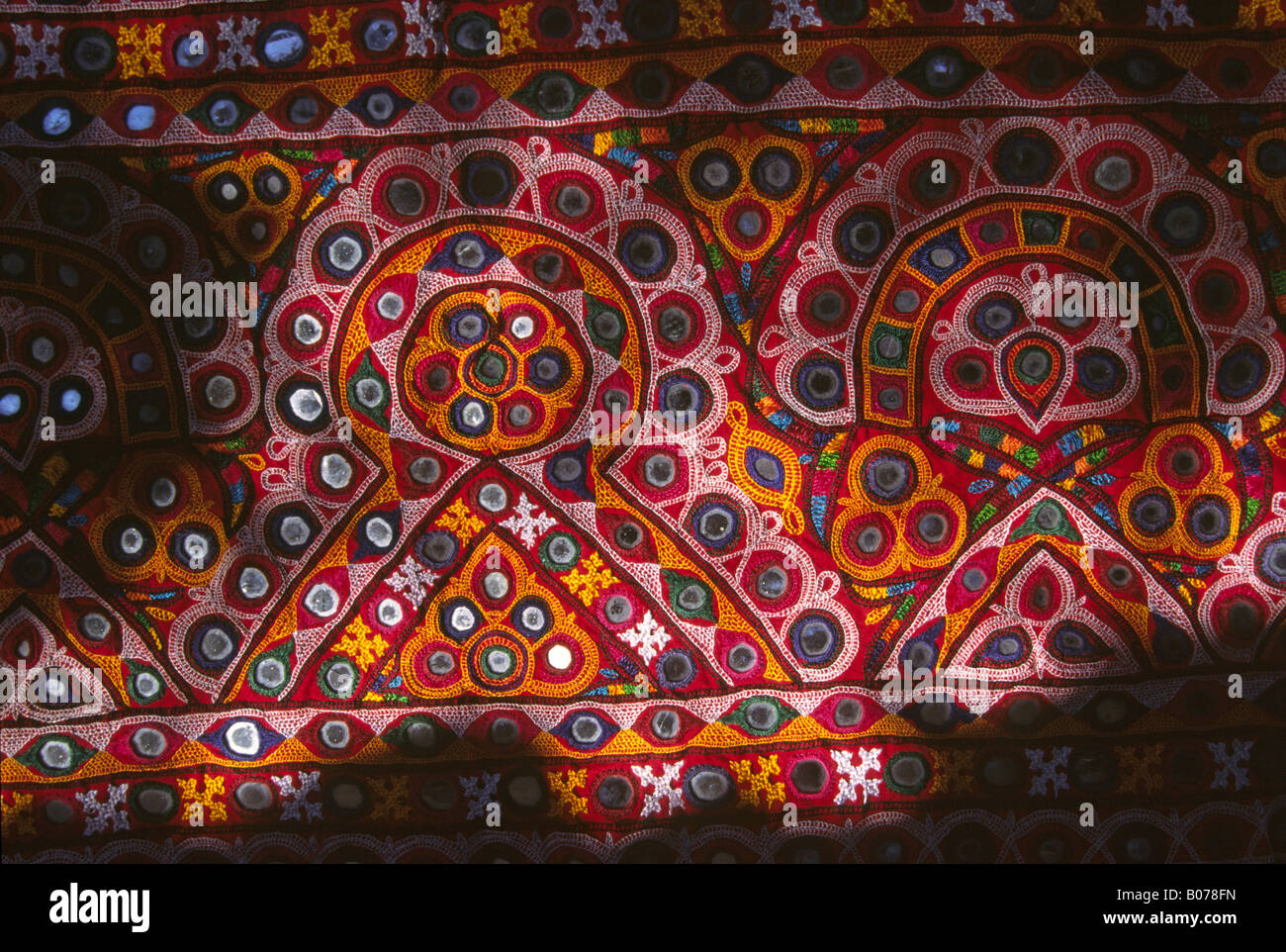 India Gujerat Rann of Kutch crafts Satapar Village Ahir embroidered dowry bag detail - Stock Image