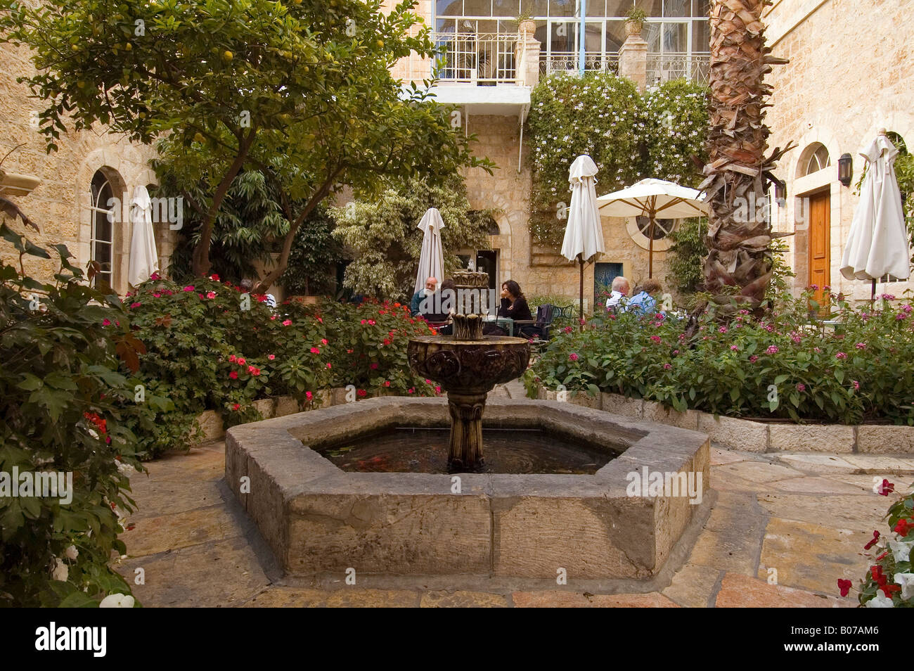 Inner courtyard of the American Colony Hotel East Jerusalem Israel Stock Photo