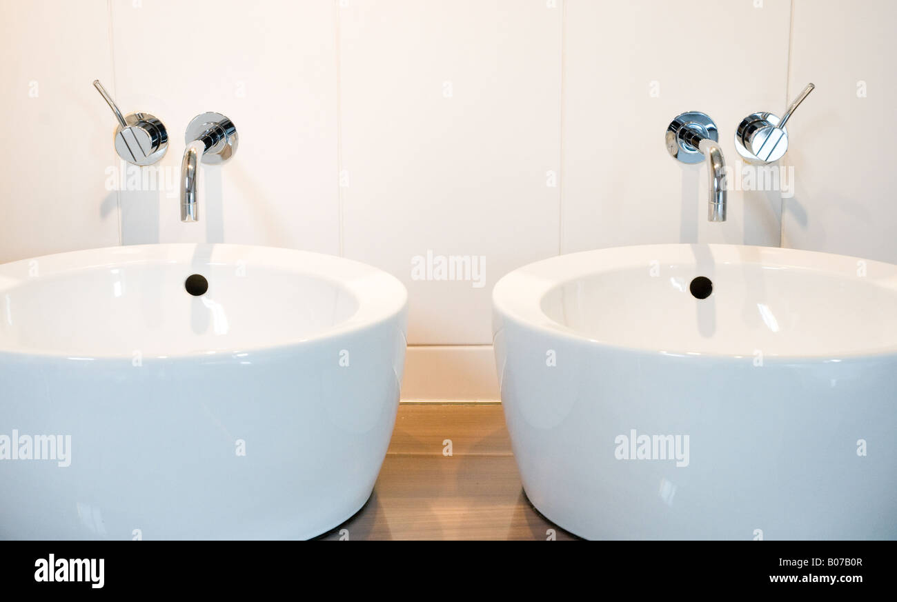 Silver VOLA Taps and basins - Stock Image