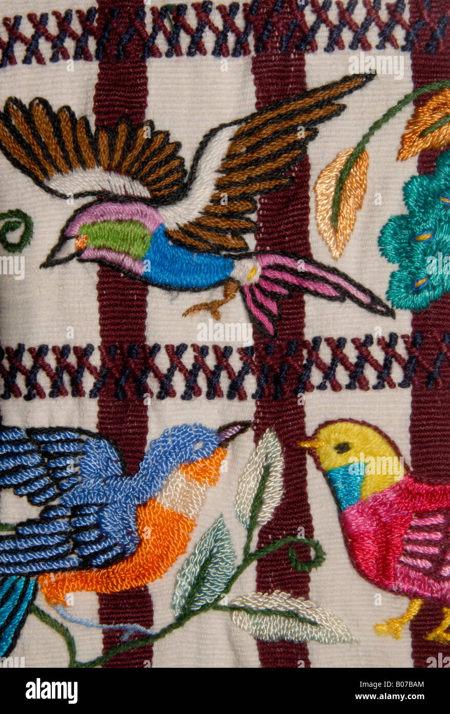 Detail of hand embroidered bird motifs on a pair of trousers from Santiago Atitlán, Guatemala - Stock Image