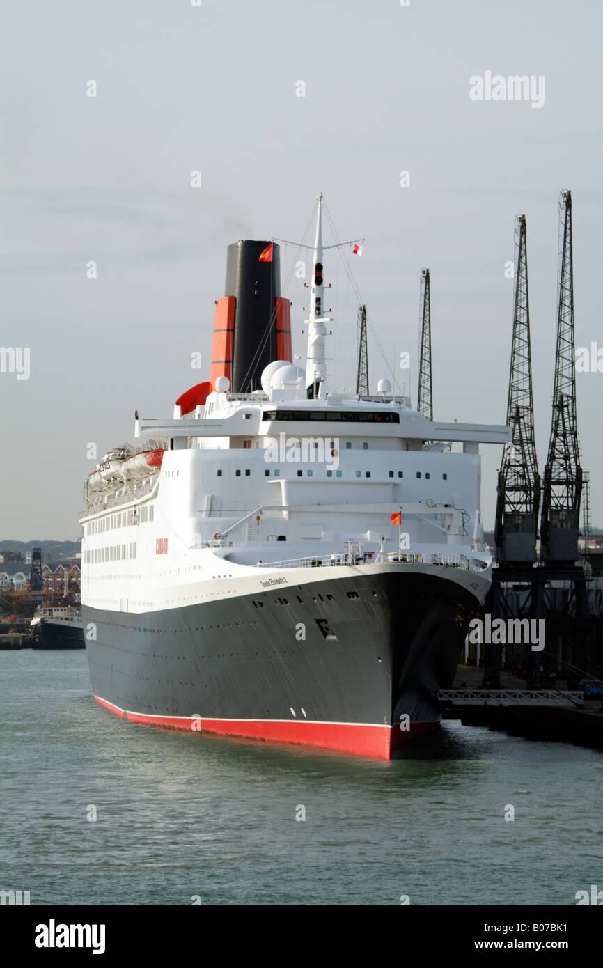 QE2 Queen Elizabeth 2 Cunard Cruise ship Southampton before final voyage Southampton Port southern England - Stock Image